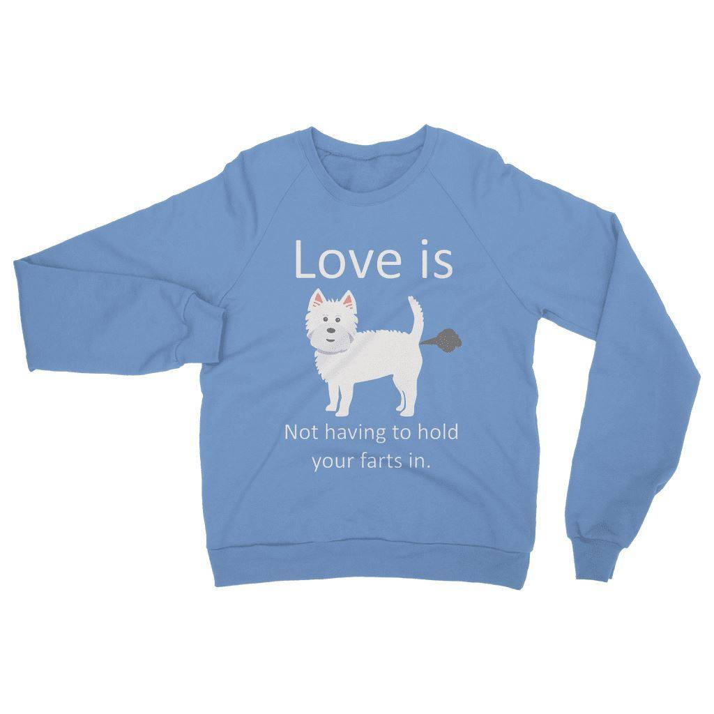 Love is not having to hold your farts in Heavy Blend Crew Neck Sweatshirt Apparel kite.ly S Carolina Blue