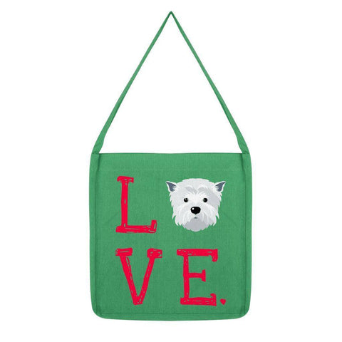 LOVE Westie Tote Bag Accessories kite.ly Melange Green