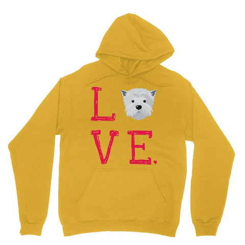 LOVE Westie Hoodie Apparel kite.ly S Gold