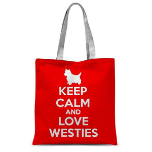"Keep Calm And Love Westies Tote Bag Accessories kite.ly 15""x16.5"""