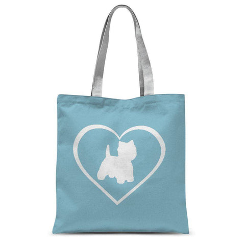 Westie in a Heart Blue Tote Bag Accessories kite.ly