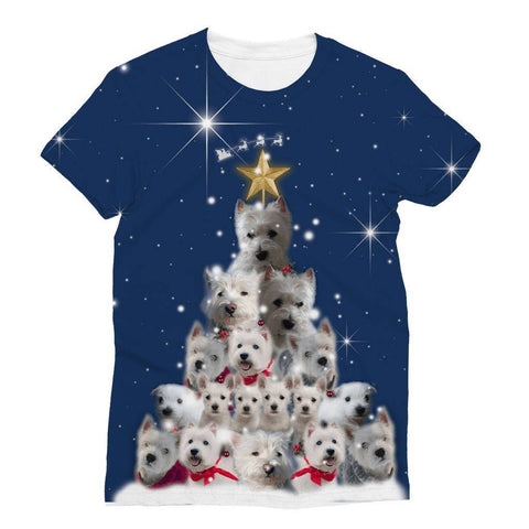 Image of Westie Christmas Tree All Over Print Tshirt Apparel kite.ly S