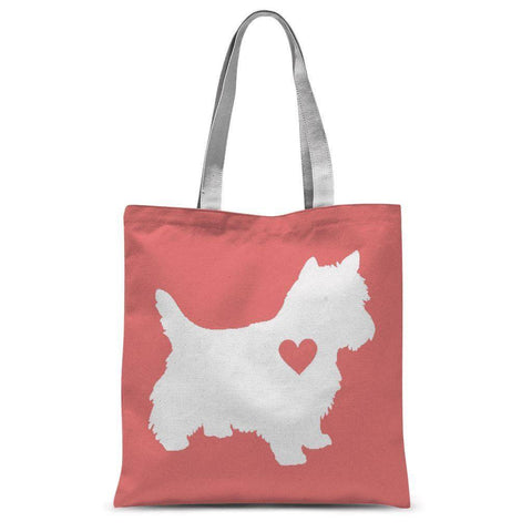 Westie Heart Coral Tote Bag Accessories kite.ly