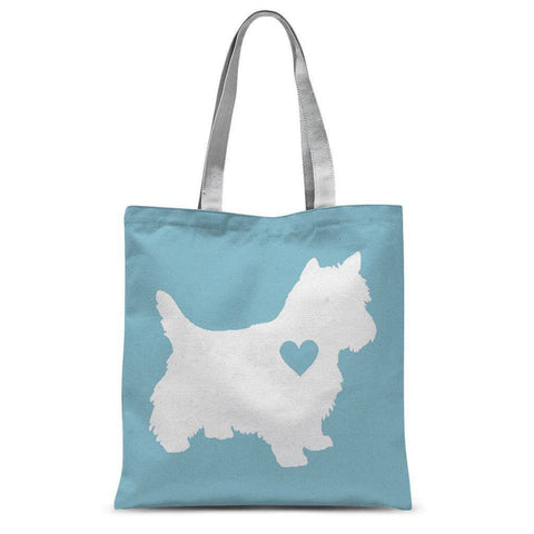 Westie Heart Blue Tote Bag Accessories kite.ly