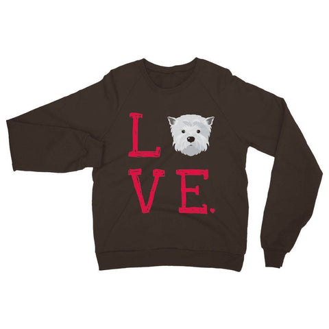 Image of LOVE Westie Sweatshirt Apparel kite.ly S Dark Chocolate