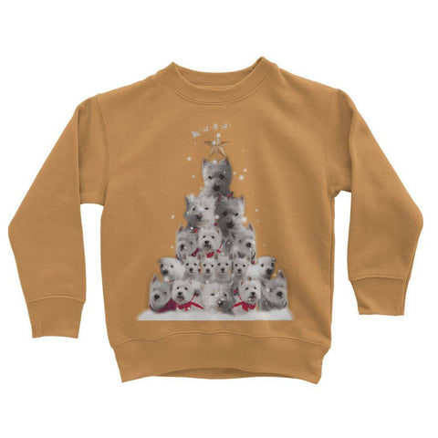 Image of Kids Westie Christmas Tree Sweatshirt Apparel kite.ly 3-4 Years Orange Crush