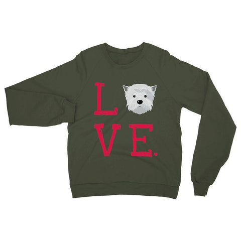 Image of LOVE Westie Sweatshirt Apparel kite.ly S Military Green
