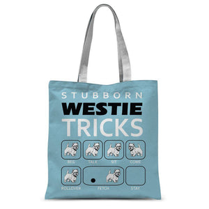 "Stubborn Westie Tricks Blue Tote Bag Accessories kite.ly 15""x16.5"""