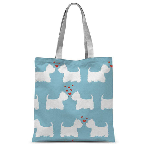 Westies in Love Blue Tote Bag Accessories kite.ly