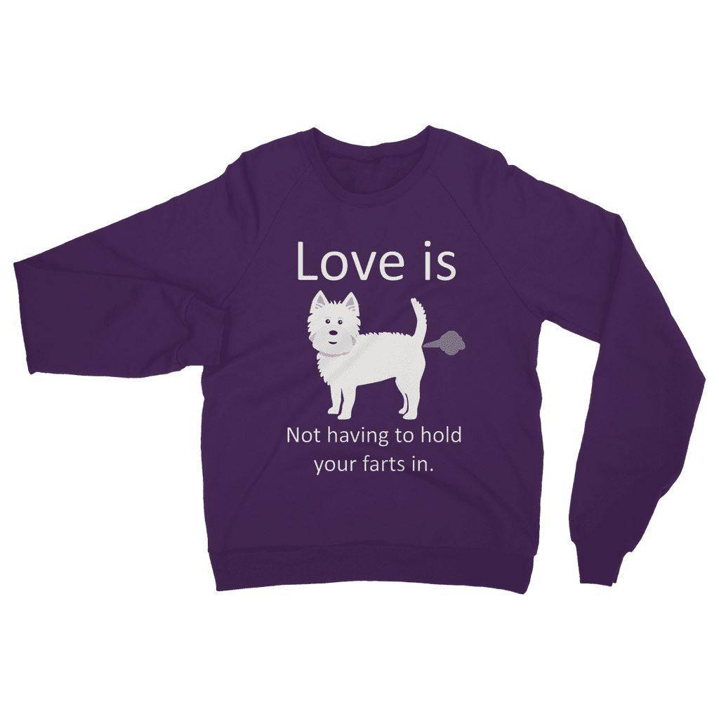 Love is not having to hold your farts in Heavy Blend Crew Neck Sweatshirt Apparel kite.ly S Purple
