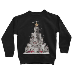 Kids Westie Christmas Tree Sweatshirt Apparel kite.ly 3-4 Years Jet Black