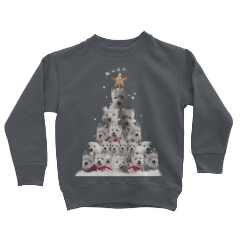 Image of Kids Westie Christmas Tree Sweatshirt Apparel kite.ly 3-4 Years Charcoal
