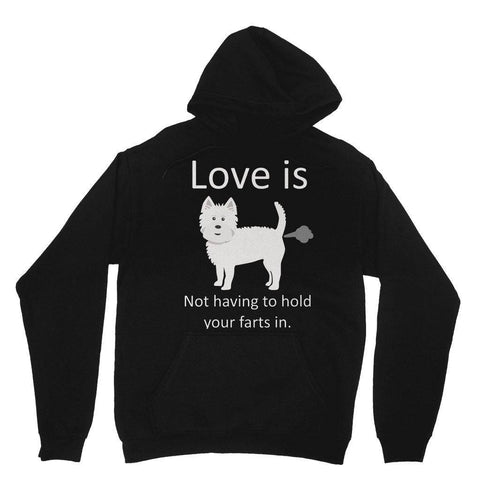 Image of Love is not having to hold your farts in Heavy Blend Hooded Sweatshirt Apparel kite.ly XS Black