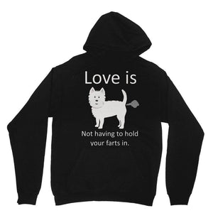 Love is not having to hold your farts in Heavy Blend Hooded Sweatshirt Apparel kite.ly XS Black