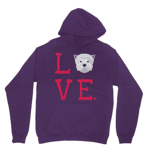 LOVE Westie Hoodie Apparel kite.ly XS Purple
