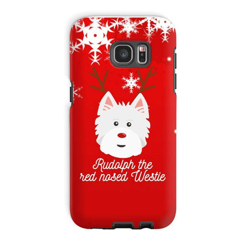 Image of Rudolph The Red Nosed Westie Phone Case Phone & Tablet Cases kite.ly Galaxy S7 Edge Tough Case Gloss