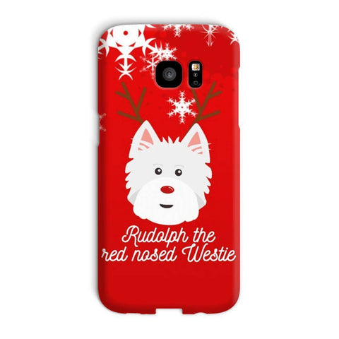Image of Rudolph The Red Nosed Westie Phone Case Phone & Tablet Cases kite.ly Galaxy S7 Edge Snap Case Gloss