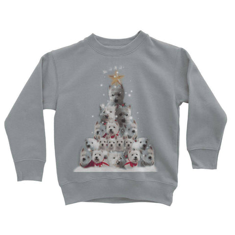 Image of Kids Westie Christmas Tree Sweatshirt Apparel kite.ly 3-4 Years Heather Grey