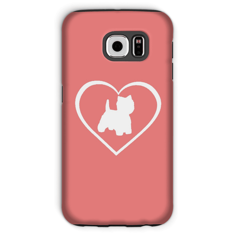 Image of Westie in a Heart Coral Phone Case