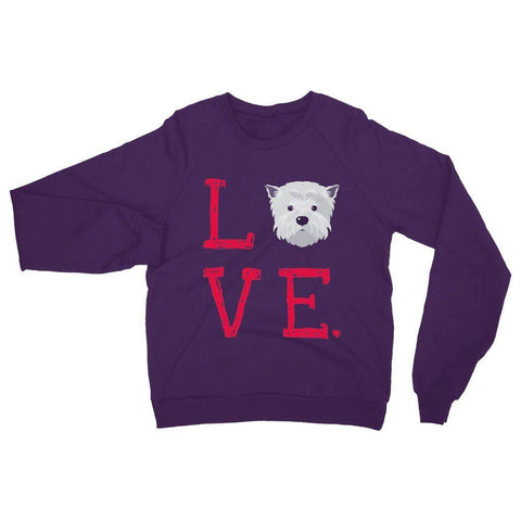LOVE Westie Sweatshirt Apparel kite.ly S Purple