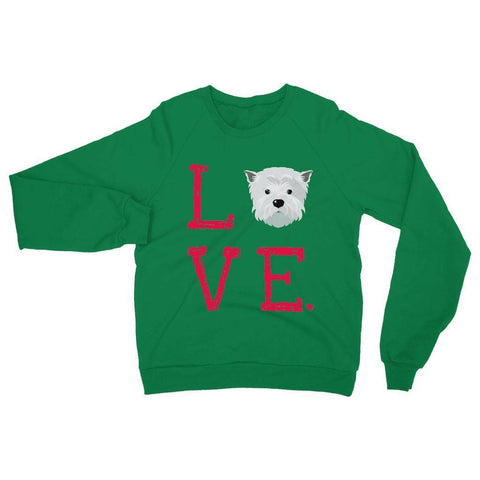 Image of LOVE Westie Sweatshirt Apparel kite.ly S Irish Green