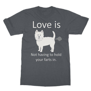 Love is not having to hold your farts in Softstyle Ringspun Tee Apparel kite.ly S Charcoal