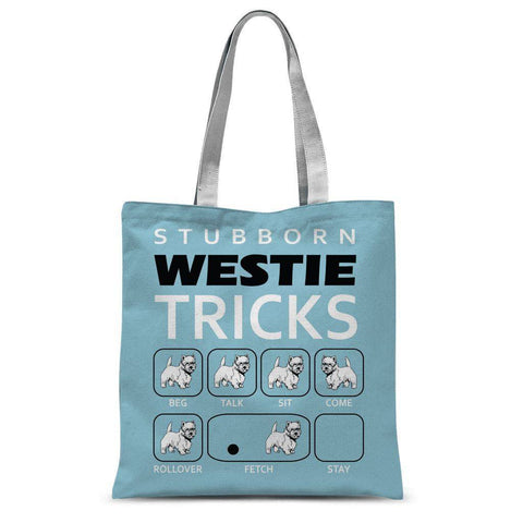 Stubborn Westie Tricks Blue Tote Bag Accessories kite.ly