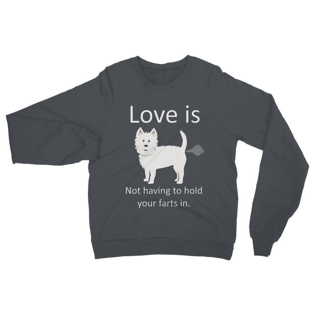 Love is not having to hold your farts in Heavy Blend Crew Neck Sweatshirt Apparel kite.ly S Charcoal