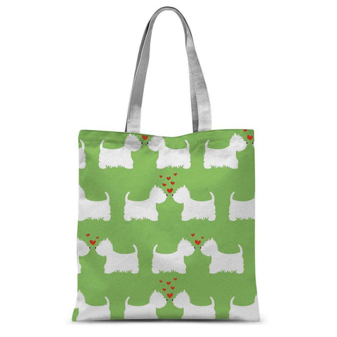 Westies in Love Lime Tote Bag Accessories kite.ly