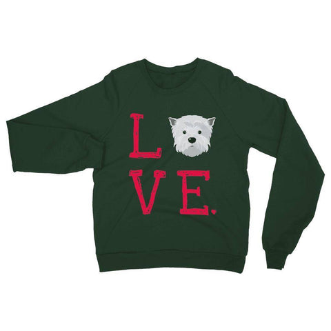 Image of LOVE Westie Sweatshirt Apparel kite.ly S Forest Green