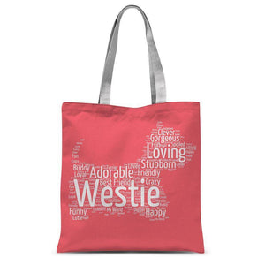 "Westie word cloud tote bag coral Accessories kite.ly 15""x16.5"""