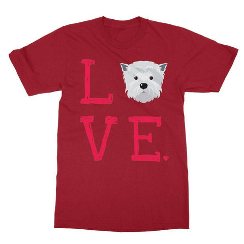 Image of LOVE Westie Tee Apparel kite.ly S Cardinal Red