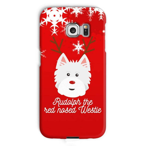 Image of Rudolph The Red Nosed Westie Phone Case Phone & Tablet Cases kite.ly Galaxy S6 Edge Snap Case Gloss