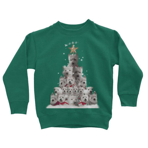 Image of Kids Westie Christmas Tree Sweatshirt Apparel kite.ly 3-4 Years Bottle Green