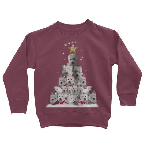 Image of Kids Westie Christmas Tree Sweatshirt Apparel kite.ly 3-4 Years Burgundy