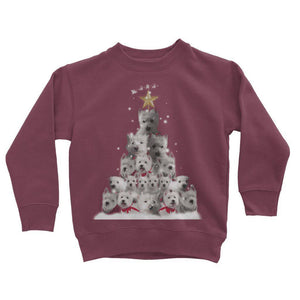 Kids Westie Christmas Tree Sweatshirt Apparel kite.ly 3-4 Years Burgundy