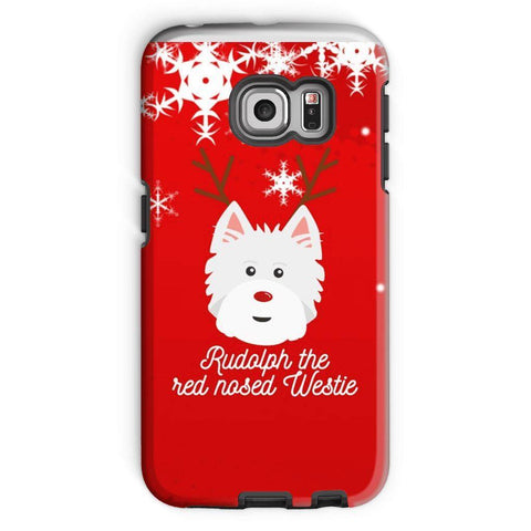 Image of Rudolph The Red Nosed Westie Phone Case Phone & Tablet Cases kite.ly Galaxy S6 Edge Tough Case Gloss