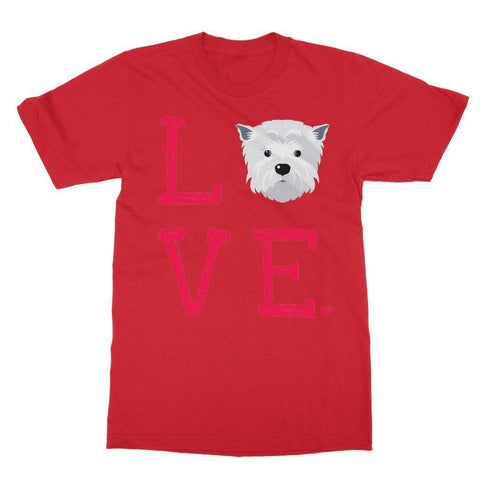 Image of LOVE Westie Tee Apparel kite.ly S Red
