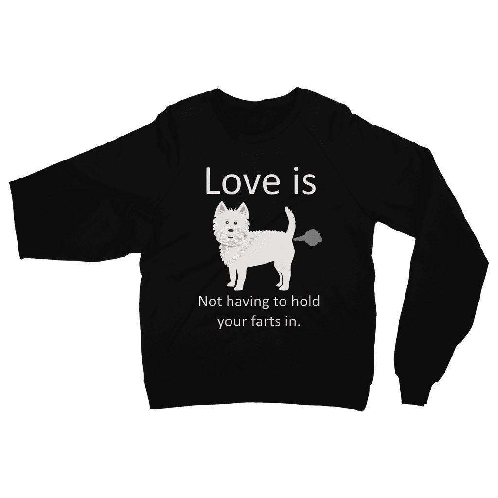 Love is not having to hold your farts in Heavy Blend Crew Neck Sweatshirt Apparel kite.ly S Black