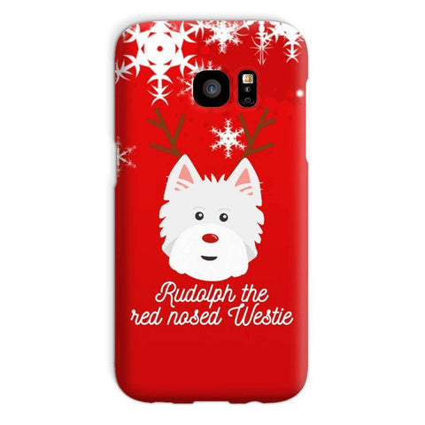 Image of Rudolph The Red Nosed Westie Phone Case Phone & Tablet Cases kite.ly Galaxy S7 Snap Case Gloss