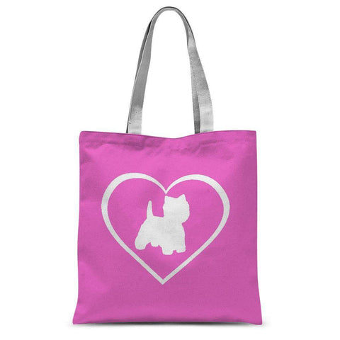 Westie in a Heart Pink Tote Bag Accessories kite.ly