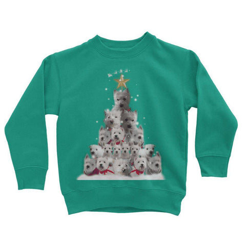 Image of Kids Westie Christmas Tree Sweatshirt Apparel kite.ly 3-4 Years Jade
