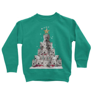 Kids Westie Christmas Tree Sweatshirt Apparel kite.ly 3-4 Years Jade