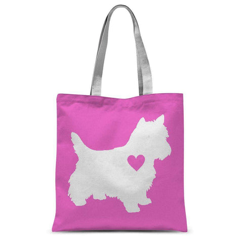 "Westie Heart Pink Tote Bag Accessories kite.ly 15""x16.5"""