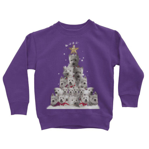 Kids Westie Christmas Tree Sweatshirt Apparel kite.ly 3-4 Years Purple