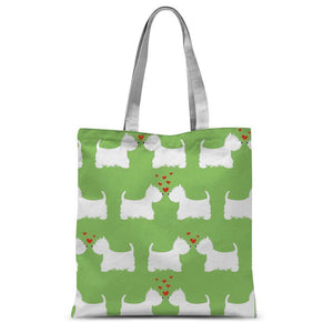 "Westies in Love Lime Tote Bag Accessories kite.ly 15""x16.5"""