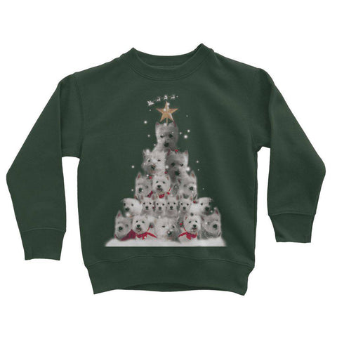 Image of Kids Westie Christmas Tree Sweatshirt Apparel kite.ly 3-4 Years Forest Green