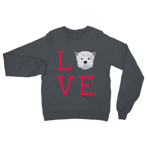 Image of LOVE Westie Sweatshirt Apparel kite.ly S Charcoal