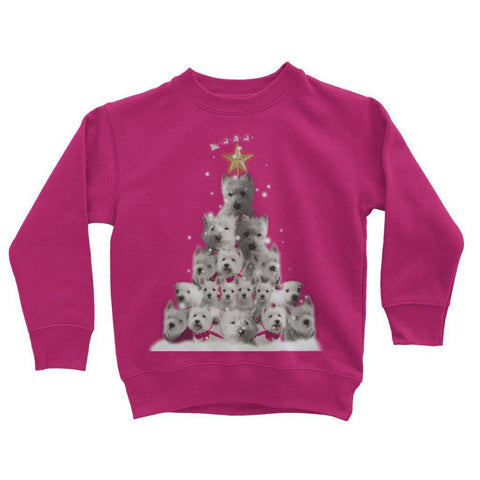 Image of Kids Westie Christmas Tree Sweatshirt Apparel kite.ly 3-4 Years Hot Pink