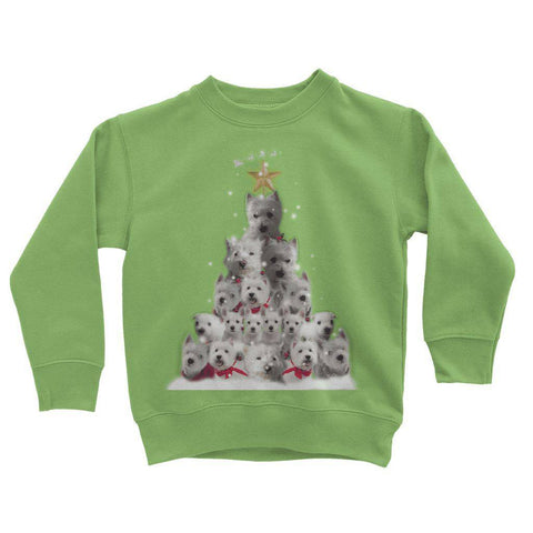Image of Kids Westie Christmas Tree Sweatshirt Apparel kite.ly 3-4 Years Lime Green
